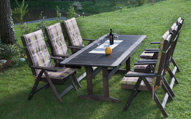 BONANZA Gartengarnitur für 6 -10  Personen mit ausziehbarem Holztisch