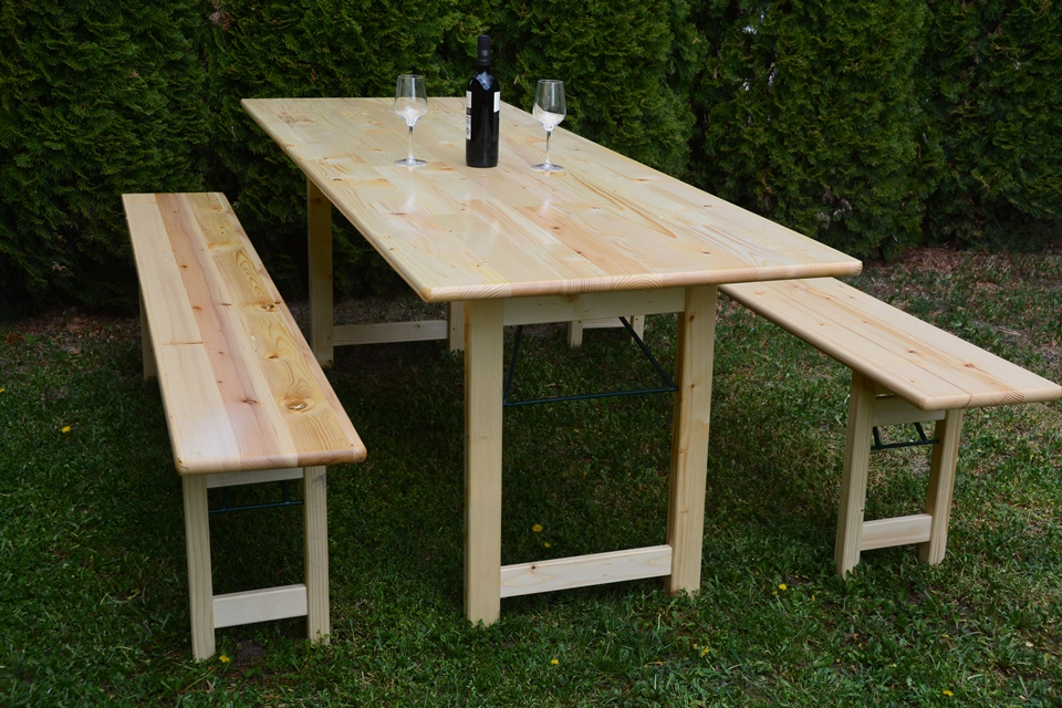 Bierbank mit Holzfuss Tischbreite 80 cm