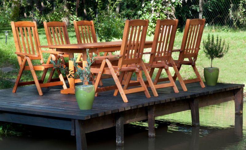 BONANZA Gartengarnitur für 6 Personen mit ausziehbarem Holztisch